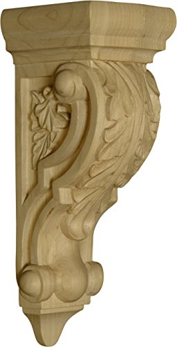 (Venice Corbel with Acanthus Leaves in Rubberwood (paintgrade) - Dimensions: 9 x 3 x 3 1/2 inches)