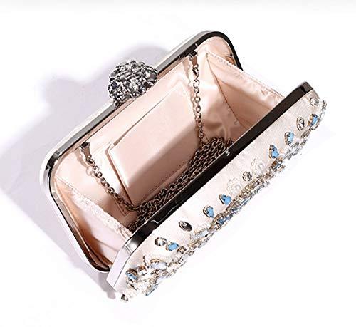 KuanDar Prom mano la monedero bolso tarde del Mini seora la boda hombro de de fiesta Rhinestone Bolso la de elegante de para Blanco de BEvXRqBnr