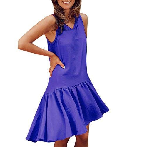 CCatyam Dress for Women, Tanks Tops Vest Sleeveless Solid Loose Sexy Mini Party Beach Fashion Blue