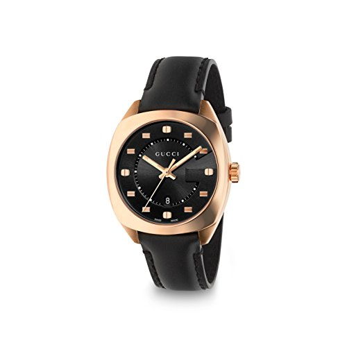 Gucci Men's Swiss Quartz Gold-Tone and Leather Dress Watch, Color:Black (Model: YA142407)