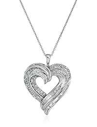 """Sterling Silver Diamond Heart Pendant Necklace (1/2 cttw, I-J Color, I2-I3 Clarity), 18"""""""