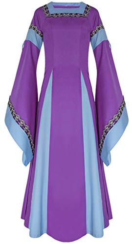 LETSQK Retro Renaissance Medieval Dresses Irish Victorian Halloween Costume Gown Purple M]()