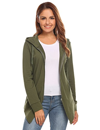HOTOUCH Women Black Elegant Spring Plus Size Hooded Zip up Coat (Army Green S)