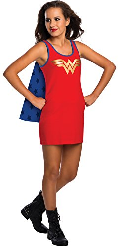 [Rubie's DC Comics Justice League Superhero Style Teen Dress with Cape Wonder Woman, Red, Medium] (Womens Tank Dress Wonder Woman Costumes)