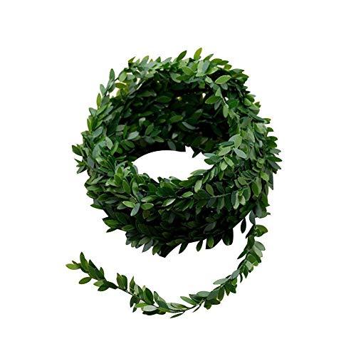 shen chou Artificial Vines, 24.6 Ft Fake Hanging Plants Silk Ivy Artificial Leaf Garlands Simulation Foliage Rattan Green Leaves Decorative Home Wall Garden Wedding Party Wreaths Decor (Leaf 0.8inch) ()
