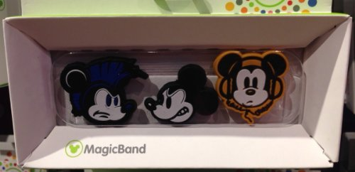 Disney Parks Mickey Mouse Graphic Design Magic Band Sliders Set of 3 Charms NEW -
