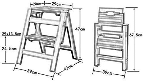 HOMRanger Escalera Plegable - Taburete con peldaños Escalera pequeña de Madera Taburete Plegable con 2 peldaños - Taburete Plegable Escalera portátil con peldaños (Color: Blanco): Amazon.es: Hogar