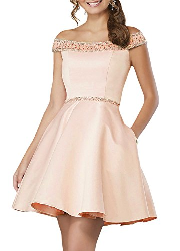 FTBY Women's Off The Shoulder Short Homecoming Dresses Prom Dresses Beaded Gown 206 Champagne-24