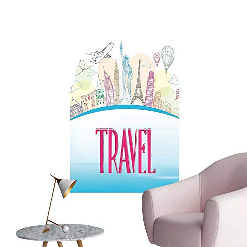 Wall Stickers for Living Room The World Statue Liberty Eiffel Tourist Sky Blue Hot Pink Vinyl Wall Stickers Print,12
