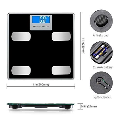 Weight Scale Bluetooth Body Fat Scales Digital Weight Smart Bathroom Scale with iOS &Android and APP Monitor Body Composition Weight, Body Fat, BMI, Water, Bone, Muscle and More 400lbs by Toye (Image #6)
