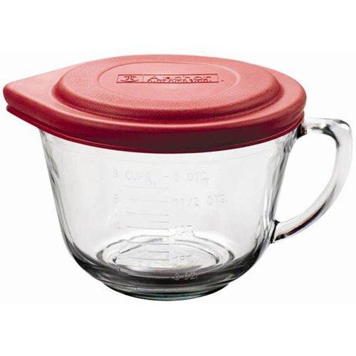 Batter Bowl,2qt W/Pl.Lid,Glass (2 Quart Batter Bowl)