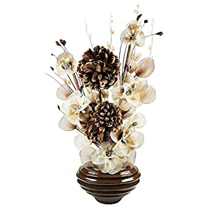 MARJON FlowersDark Brown Vase with Coffee and Cream Artificial Flowers, Ornaments for Living Room, Window Sill, Home Accessories 41