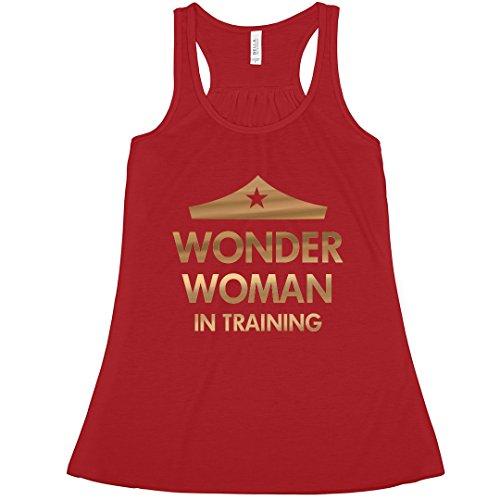 (Wonder Woman Workout Metallic Tank: Bella Ladies Flowy Metallic Racerback Tank)