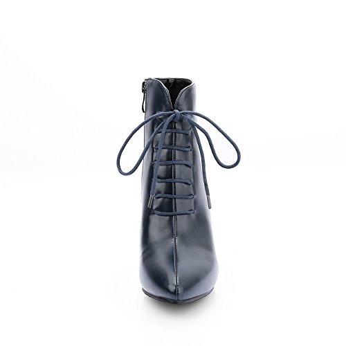 AdeeSu Girls Bandage Stiletto Round Toe Imitated Leather Boots Blue mtL8xXWkh3