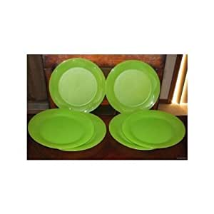 "Tupperware Set of 6 Floresta 11"" Dinner Plates - Green"