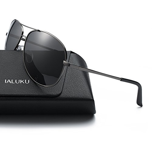 IALUKU Aviator Sunglasses Polarized for Men Classic Pilot Metal Frame UV400 (Grey / Grey, - 64mm Sunglasses