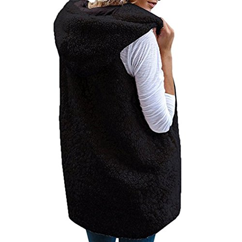 Solid Waistcoat Fur Warm Thick Casual Sherpa Faux Fashion Womens Cardigan Warm Winter Ladies Coat Sleeveless Hooded Outwear Anglewolf Jacket Black Keep Vest Jacket nxwSYfqX0