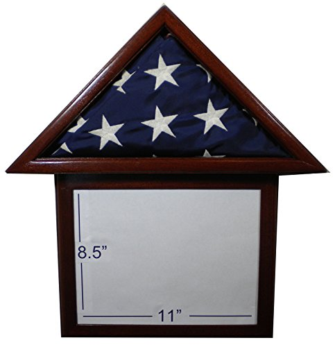"""Solid Mahogany Flag Display Case with attached 8.5 x 11"""" F"""