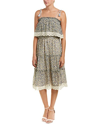 cupcakes and cashmere Women's Deda Floral Print Off The Shoulder Dress, Oatmeal, ()