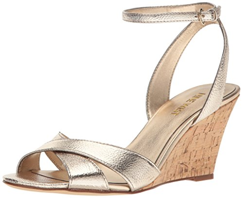 Nine West Women's Kami Metallic Wedge Sandal, Gold, 12 M US