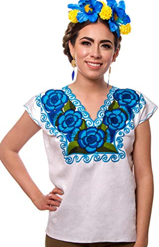 - Mexican Blouse Embroidery Floral Artisans Handmade Top Peasant Cotton Boho Autentic Clothing Short Sleeve (White Flowers, XXL)