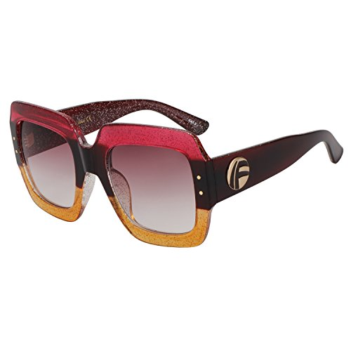 ROYAL GIRL Oversized Square Sunglasses For Women Multi Tinted Frame Brand Designer Fashion Shades (C3, - Women For Luxury Sunglasses
