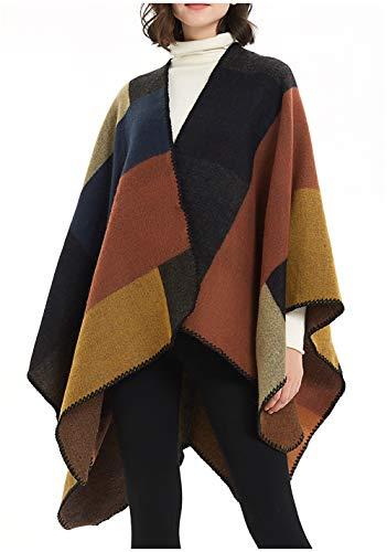 ilishop Women's Winter Reversible Oversized Blanket Poncho Cape Shawl Cardigans Khaki Free (Wool Poncho For Women)