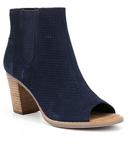 Toms Women's Majorca Peep Toe Bootie Boots (7.5 B(M) US, Navy) (Blue Peep Toe)
