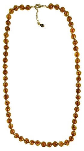 Authentic Venetian Bead Necklace 26 Inches +2 Extension Autumn Brown Murano Glass Gold Tone