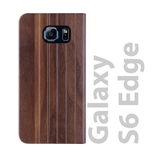 iATO Samsung Galaxy S6 Edge Book Type Case – Real Walnut Wood Grain Premium Protective Front & Back Cover Galaxy S6 Edge…