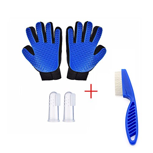 groomed gloves - gloves gently brushed efficient pet epilierer improved five finger design massage tool for long hair dogs (contains 1ps pet comb, comb and 2 toothbrushes)