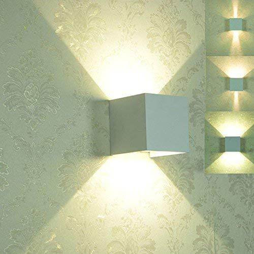 YWJWJ Weiße Wand Wasserdichte Aluminium Quadrat Doppelzimmer mit Balkon Licht, warmes, weißes Licht, 100  100  100 Mm LEDs