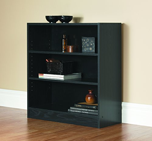 Mylex Three Shelf Bookcase; Two Adjustable Shelves; 11.63 x 29.63 x 31.63 Inches, Black, Assembly Required (43064)