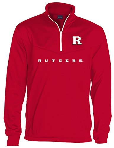 Knights Men's Big Qtr Zip Fleece Sweatshirts, 3X-Large/Tall, Red (Rutgers T-shirts)