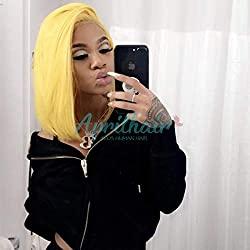 Aprilhair Pre-plucked Bob Lace Front Wigs Glueless 130% Density Short Cut Straight Brazilian Virgin Human Hair With Baby Hair Full And Thick Free Part (12 inch, Yellow color)