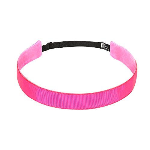 BaniBands Headbands for Women - Non Slip Adjustable Sports Head Bands - Made in USA - Perfect Headband for Active Women Stays in Place During Workout, Running, Yoga and More - Pink (Running In Pink)