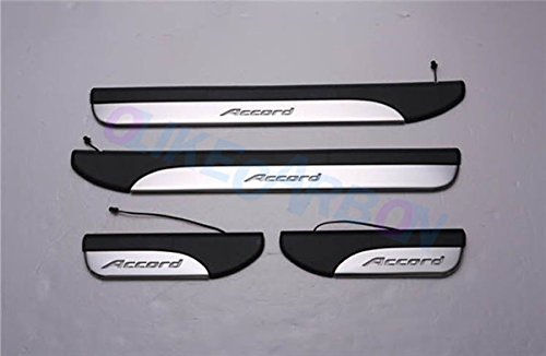Door Sill Trim Plates (For Honda Accord 2013 14 15 16 2017 9TH Sedan Fashion Style ABS+Stainless Steel LED Door Sill Scuff Plate Guard Sills Protector Trim (BLUE))