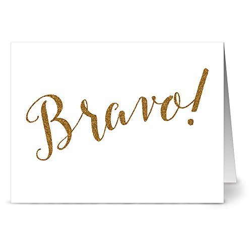 (24 Note Cards - Glitzy Bravo - Blank Cards - Kraft Envelopes Included by Note Card Cafe)