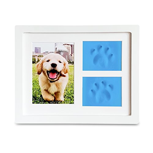 Dog or Cat Paw Prints Pet memorial Triple Photo Frame 4x6 With Clay Impression Kit, Perfect Keepsake picture Frame for Pet Lovers Fingerprint Christmas Lights Poem