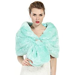Faux Fur Shawl Wrap Stole Shrug Winter Bridal Wedding Cover Up Aqua Blue Size M