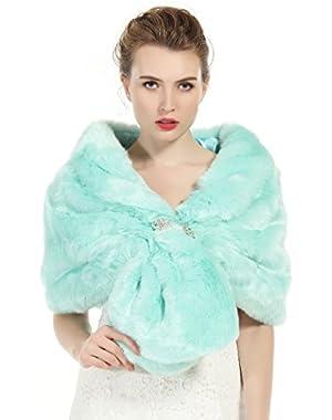 Faux Fur Shawl Wrap Stole Shrug Winter Bridal Wedding Cover Up (14 Colors)Size M L