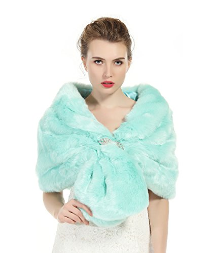 Aqua Blue Fur (Faux Fur Shawl Wrap Stole Shrug Winter Bridal Wedding Cover Up Aqua Blue Size L)