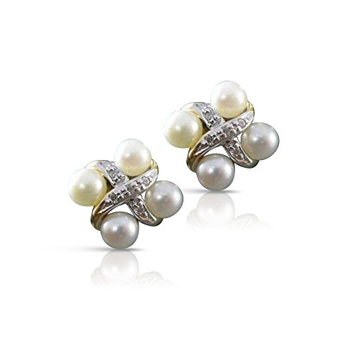 DIAMOND 14KT TWO TONE GOLD AAA SOUTH SEA PEARL SQUARE EARRINGS #21919 14kt 2 Tone Diamond Earrings