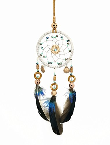 DrCor Car Dream Catcher for Rearview Mirror Accessories Handmade Dream Catchers Navy Blue Car Charms Hanging Decorations Native American Car Decor (Car Hanging Mirror Accessories)