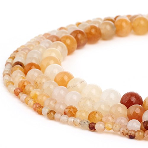 - RUBYCA Natural Orange White Jade Gemstone Round Loose Beads for DIY Jewelry Making 1 Strand - 6mm