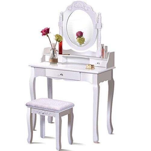 Giantex Bathroom Vanity Wood Makeup Dressing Table Stool Set with Mirror (Round Mirror, 3 Drawers)