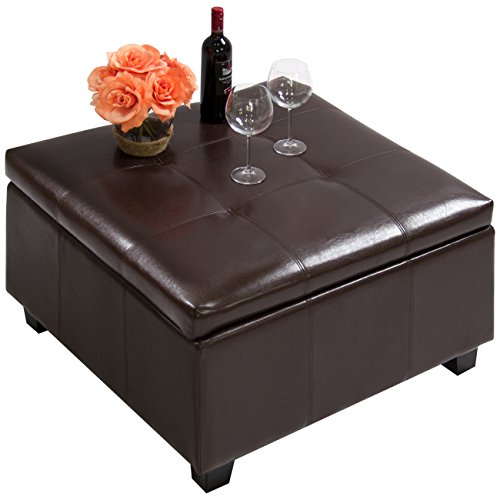 Best Choice Products PU Leather Square Shape Storage Ottoman Foot Rest Stool Decor Furniture w/Large Sturdy Frame, Gas Shock Hinges - Espresso