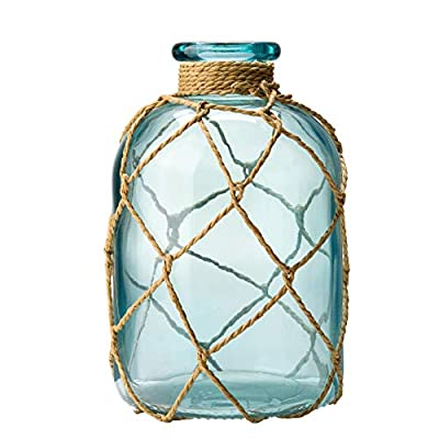 """Diamond Star Rustic Glass Bottle Vase Decorative Blue Flower Vase with Creative Rope Net (Small) - Material: high-quality glass and rope. Size: The Small One: Top Diameter: 1.4"""", Base Diameter: 4"""", Height: 7"""", Weight: 573G. The Large One: Top Diameter: 1.4"""", Base Diameter: 4"""", Height: 10"""", Weight: 924G. Great to be used as a flower vase or vase light(after putting the string lights inside). Suitable for home decoration, wedding, party centerpieces, hotel, restaurant, shop, outdoor etc. - vases, kitchen-dining-room-decor, kitchen-dining-room - 41TUK0bzXfL. SS400  -"""