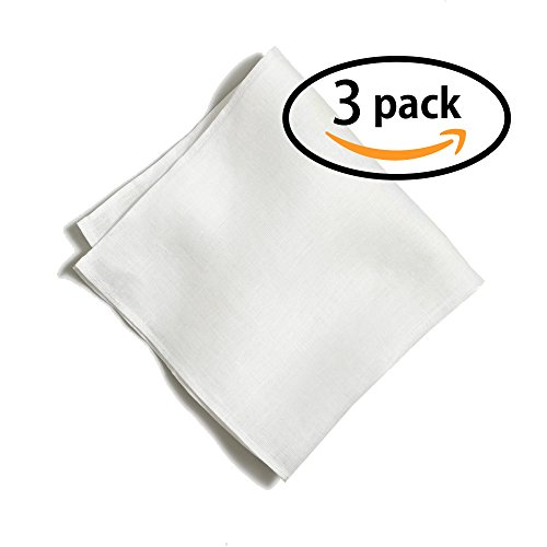 100% White Linen Handmade Pocket Square Handkerchief in Perfect Suit Size (3-PACK) (Suit Pocket Handkerchief)