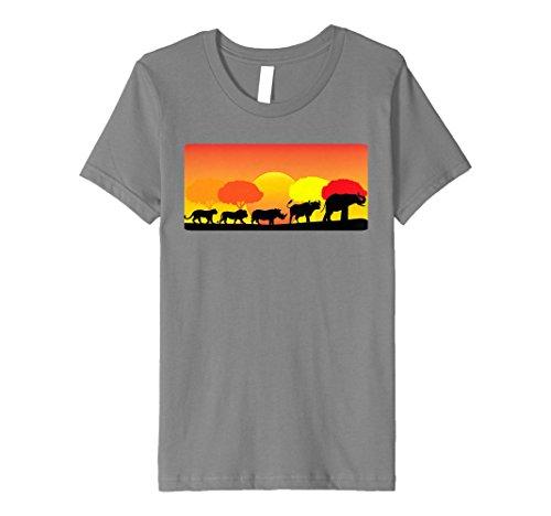 Kids Africa Big Five Animals T-Shirt | BIG 5 of Africa 10 Slate by Africa Big Five Animals Big 5 Shirts